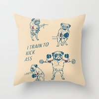 workout Throw Pillows featuring Pug Workout by Huebucket