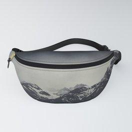Misty Dark Mountain Peaks in the Italian Alps Fanny Pack