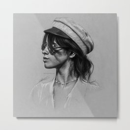 Camila Gray Sketch Metal Print