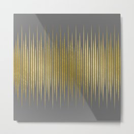 Linear Grey & Gold Metal Print