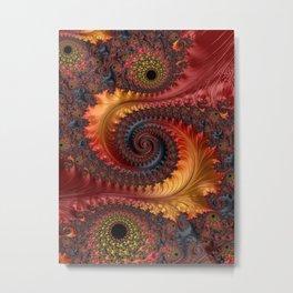 Feathery Flow - Red Fractal Art Metal Print