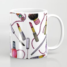 Watercolor Eyes Lips Nails - repeat pattern Coffee Mug