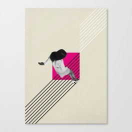Geometric Falling Girl Graphic Canvas Print