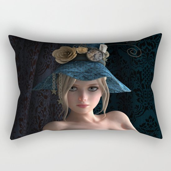 Nude Steampunk girl Rectangular Pillow