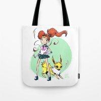 sailor jupiter Tote Bags featuring Sailor Jupiter by Caity Hall Art