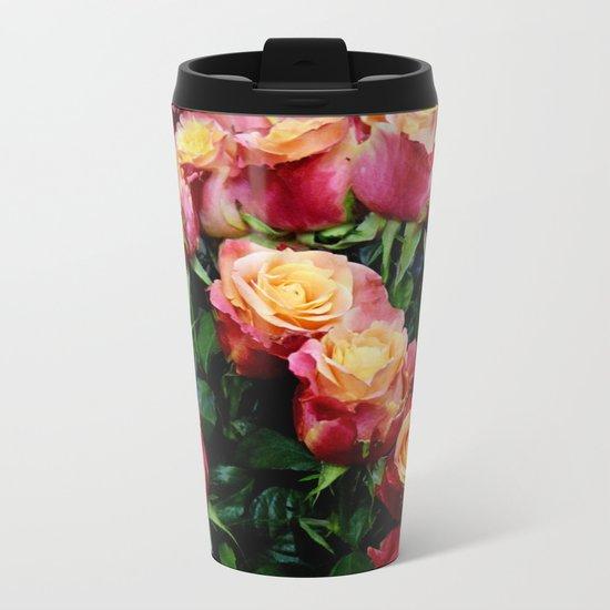Red Orange Roses Metal Travel Mug