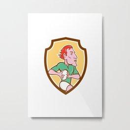 Rugby Player Running Ball Shield Cartoon Metal Print