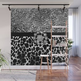 Animal Print Leopard Glam Silver and Black Diamond Wall Mural
