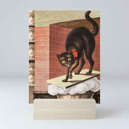 Scared Black Cat Vintage Artwork Mini Art Print