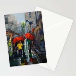 Red Umbrellas and Reflections Stationery Cards