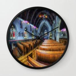 Church at Christmas Wall Clock