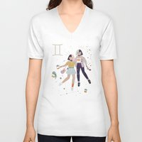 gemini V-neck T-shirts featuring Gemini by LordofMasks