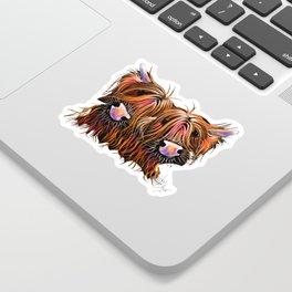 SCoTTiSH HiGHLaND CoWS ' THe LoVeLieS ' By SHiRLeY MacRTHuR Sticker