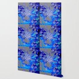 MODERN ROYAL BLUE WINTER SNOWFLAKES GREY ART Wallpaper