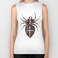spider Biker Tanks featuring Spider by Bwiselizzy