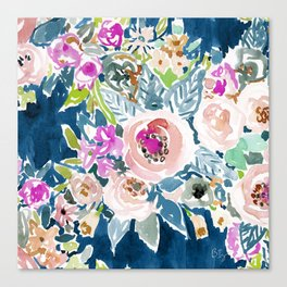 NAVY SO LUSCIOUS Colorful Watercolor Floral Canvas Print