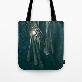 Beautiful Vintage Spoons on Black Tote Bag