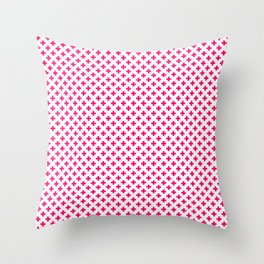 Small Hot Neon Pink Crosses on White Throw Pillow