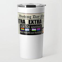 LGBT Gay Pride Flags Newspaper Unicorn Pug Funny Gift design Travel Mug
