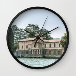 Lakehouse in Lago D'Iseo, Italy | Mediterranean Summer on the water | Travel Photography Wall Clock