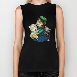 Playing And Cuddling With Cats Biker Tank