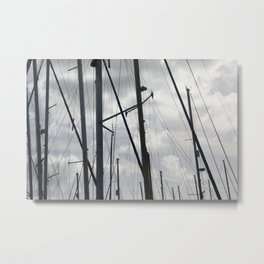 Yacht masts on cloudy sky Metal Print