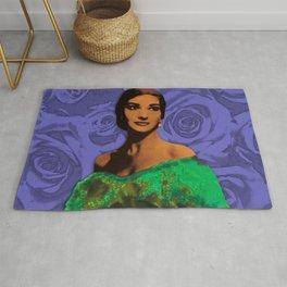 Maria Callas Stenciled Indigo Rug
