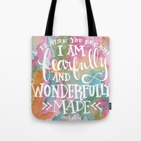 scripture Tote Bags featuring Fearfully and Wonderfully Made - Watercolor Scripture by Misty Diller by Misty Diller of Misty Michelle Design