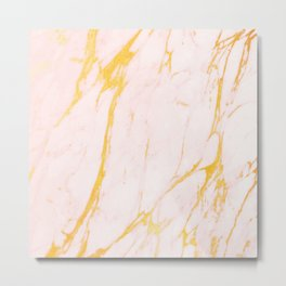 Modern blush pink faux gold abstract marble pattern Metal Print