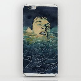 Drowning in Brainwaves- Portrait of Ian Curtis iPhone Skin
