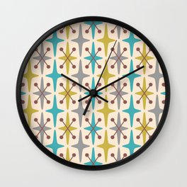 Mid Century Modern Abstract Star Pattern 441 Gray Brown Turquoise Olive Green Wall Clock