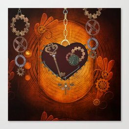 Steampunk, heart with gears Canvas Print