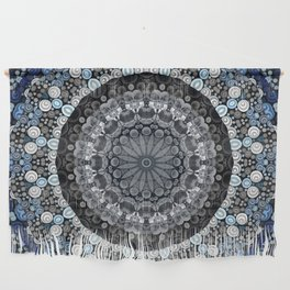 Dark Blue Grey Mandala Design Wall Hanging