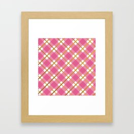 Pink Gingham Gold Foil Stripe Metallic Framed Art Print