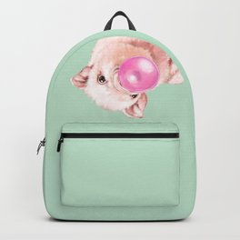 Bubble Gum Sneaky Baby Pig in Green Backpack