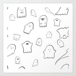 Spooky Cute Ghosts Art Print