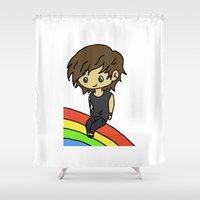 louis tomlinson Shower Curtains featuring Rainbow Louis by clevernessofyou