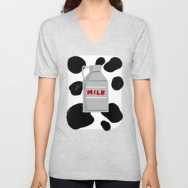 caw milk cute pattern Unisex V-Neck
