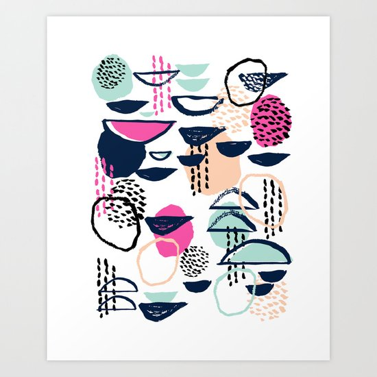 Rumba - pattern print retro cool hipster art colorful feminine shapes abstract Art Print