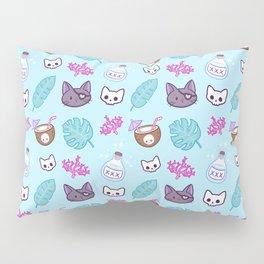 Pirate Cat // Turquoise Pillow Sham