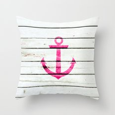 Hipster Neon Pink Nautical Anchor Striped Wood Throw Pillow