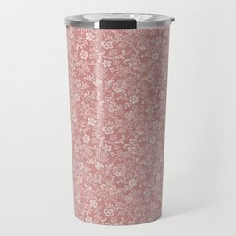Mauve - Dusty Rose - Antique Floral Design Travel Mug