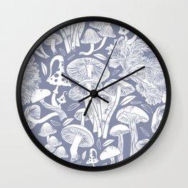 Delicious Autumn botanical poison IV // blue grey background Wall Clock