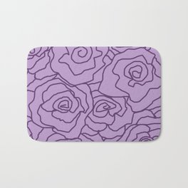 Lavender Dreams Roses - Light with Dark Outline - Color Therapy Bath Mat
