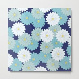 Blue oriental flowers Metal Print