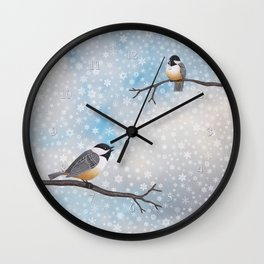 chickadees in snow Wall Clock