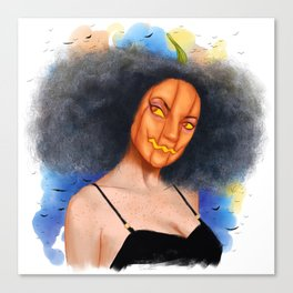 Pumpkin Girl in Halloween Canvas Print