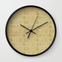 Golden Celtic Pattern on canvas texture Wall Clock