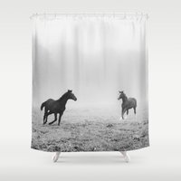 horses Shower Curtains featuring Horses by Monika Manowska