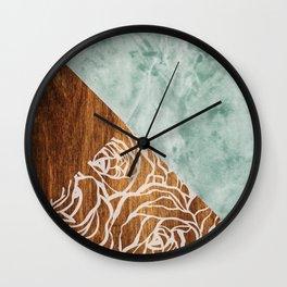 Wood + Geometric Pattern Wall Clock